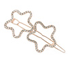 Rose Gold Tone Clear Crystal Double Star Hair Slide/ Grip - 60mm Across