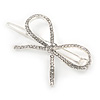 Silver Plated Clear Crystal White Glass Bead Open Bow Hair Slide/ Grip - 60mm Across
