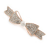 Rose Gold Tone Clear Crystal Bow Barrette Hair Clip Grip - 70mm Across