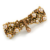 Vintage Inspired Caramel Faux Pearl, Topaz Crystal Bow Barrette Hair Clip Grip In Aged Gold Finish - 85mm Across