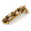 Vintage Inspired Caramel Faux Pearl, Champagne Crystal Floral Barrette Hair Clip Grip In Aged Gold Finish - 85mm Across
