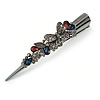 Large Dim Grey/ Midnight Blue/ Plum Austrian Crystal Butterfly Hair Beak Clip/ Concord Clip In Black Tone - 13cm Length