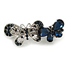 Small Vintage Inspired Midnight Blue Crystal Double Double Butterfly Barrette Hair Clip Grip In Aged Silver Finish - 65mm Across