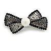 Small Vintage Inspired Filigree Midnight Blue Crystal Bow Barrette Hair Clip Grip In Aged Silver Finish - 60mm Across