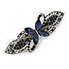 Small Vintage Inspired Midnight Blue Crystal Butterfly Barrette Hair Clip Grip In Aged Silver Finish - 70mm Across