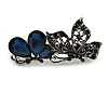 Small Vintage Inspired Midnight Blue Crystal Double Butterfly Barrette Hair Clip Grip In Aged Silver Finish - 65mm Across