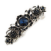 Vintage Inspired Midnight Blue Crystal Floral Barrette Hair Clip Grip In Aged Silver Finish - 85mm Across