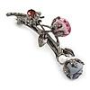 Vintage Inspired Dim Grey Crystal Rose Floral Barrette Hair Clip Grip In Gun Metal Finish - 75mm Across
