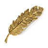 Vintage Inspired Feather Barrette Hair Clip Grip In Aged Gold Finish - 95mm Across