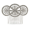 Bridal/ Wedding/ Prom/ Party Art Deco Style Rhodium Plated Tone Austrian Crystal Hair Comb - 80mm W