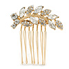 Small Bridal/ Wedding/ Prom/ Party Gold Plated Clear Crystal Leaf Hair Comb - 50mm