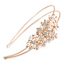 Bridal/ Wedding/ Prom Rose Gold Tone Clear Crystal, White Faux Pearl Floral Tiara Headband - Flex