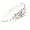 Bridal/ Wedding/ Prom Light Silver Tone Clear Crystal, White Faux Pearl Floral Tiara Headband - Flex