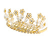 Fairy Princess Bridal/ Wedding/ Prom/ Party Gold Tone Clear Crystal and Transparent Glass Bead Floral Mini Hair Comb Tiara - 65mm