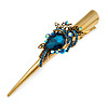 Long Vintage Inspired Gold Tone Teal Blue/ Ab Crystal Floral Hair Beak Clip/ Concord/ Crocodile Clip - 13.5cm L