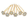 Bridal/ Wedding/ Prom/ Party Set Of 6 Clear/ Ab Austrian Crystal Daisy Flower Hair Pins In Gold Tone