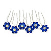 Bridal/ Wedding/ Prom/ Party Set Of 6 Sapphired Blue Austrian Crystal Daisy Flower Hair Pins In Silver Tone