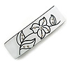 White/ Black Crystal Acrylic Barrette Hair Clip Grip In Silver Tone Metal - 80mm Long