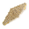 Classic Clear Crystal Geometric Barrette Hair Clip Grip In Gold Plated Metal - 75mm Across