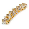Classic Clear Crystal Geometric Barrette Hair Clip Grip In Gold Plated Metal - 85mm Across