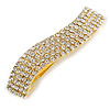 Clear Crystal Wavy Barrette Hair Clip Grip In Gold Plated Metal - 80mm