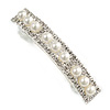 Silver Tone White Faux Pearl Clear Crystal Barrette Hair Clip Grip - 80mm W