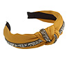 Mustard Yellow with Grey Diamante Strip Fabric Flex HeadBand/ Head Band