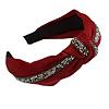 Ox Blood with Grey Diamante Strip Fabric Flex HeadBand/ Head Band