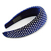 Retro Thicken Padded Velvet Diamante Wide Chunky Hair Band/ HeadBand/ Alice Band in Blue
