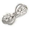 Bridal Wedding Prom Silver Tone Diamante Bow Barrette Hair Clip Grip - 85mm Across