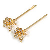 2 Bridal/ Prom Clear Crystal Rose Flower Hair Grips/ Slides In Gold Tone - 65mm Across
