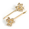 2 Bridal/ Prom Clear Crystal Flower Hair Grips/ Slides In Gold Tone - 65mm Across