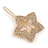 Small Gold Tone Clear Crystal Star Hair Slide/ Grip - 50mm Across