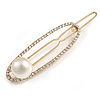 Gold Tone Metal Clear Crystal Cream Faux Pearl Oval Hair Slide/ Grip - 65mm Across