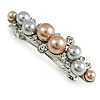 Small Faux Grey/ Taupe Glass Pearl Bead Clear Crystal Barrette Hair Clip Grip In Silver Tone  - 60mm W