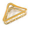 Gold Tone Yellow Enamel Triangular Hair Claw/ Clamp - 75mm Across