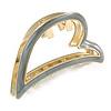 Gold Tone Grey Enamel Open Heart Hair Claw/ Clamp - 65mm Across