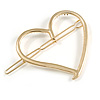 Gold Tone Polished Open Heart Hair Slide/ Grip - 55mm Across