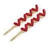 2 Gold Plated Magenta Enamel Heart Hair Grips/ Slides - 65mm