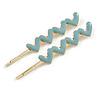 2 Gold Plated Light Blue Enamel Heart Hair Grips/ Slides - 65mm
