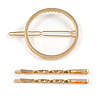 Set Of Twisted Hair Slides and Open Circle Hair Slide/ Grip In Gold Tone Metal