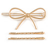Set Of Twisted Hair Slides and Open Bow Hair Slide/ Grip In Gold Tone Metal