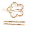 Set Of Twisted Hair Slides and Open Flower Hair Slide/ Grip In Gold Tone Metal