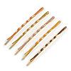 Set of 5 Multicoloured Enamel Hair Slides In Gold Tone - 65mm Long