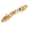 Stylish Glass, Semiprecious and Acrylic Stone Barrette Hair Clip Grip in Gold Tone (Caramel, Champagne) - 85mm W
