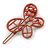 Coral Butterfly Hair Slide/ Grip - 50mm Across
