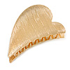 Gold Tone Metal Scratched Heart Hair Claw/ Clamp - 65mm Across