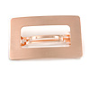 Rose Gold Tone Satin Finish Large 'Buckle' Square Barrette Hair Clip Grip - 80mm Across