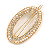 Gold Tone Clear Crystal Cream Faux Pearl Oval Hair Slide/ Grip - 60mm Across