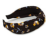 Floral Print Silk Fabric Flex HeadBand/ Head Band in Black/ Yellow/ Grey